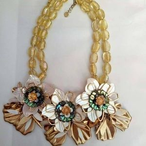 Nakamol Beaded Triple Floral Statement Necklace #7